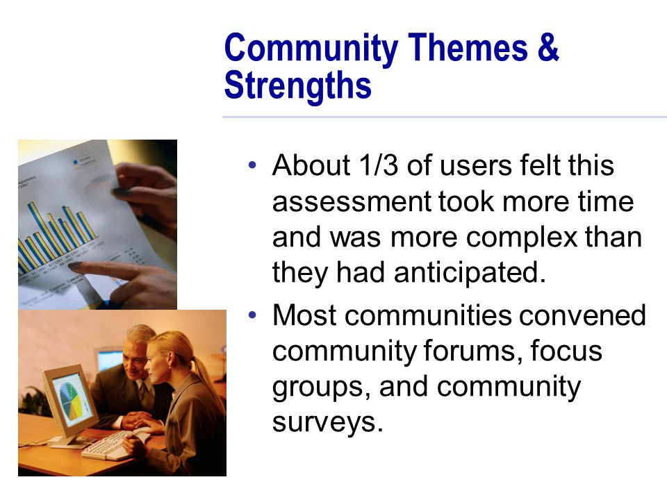 Community Themes & Strengths About 1/3 of users felt this assessment took more time and was more complex than they had anticipated.