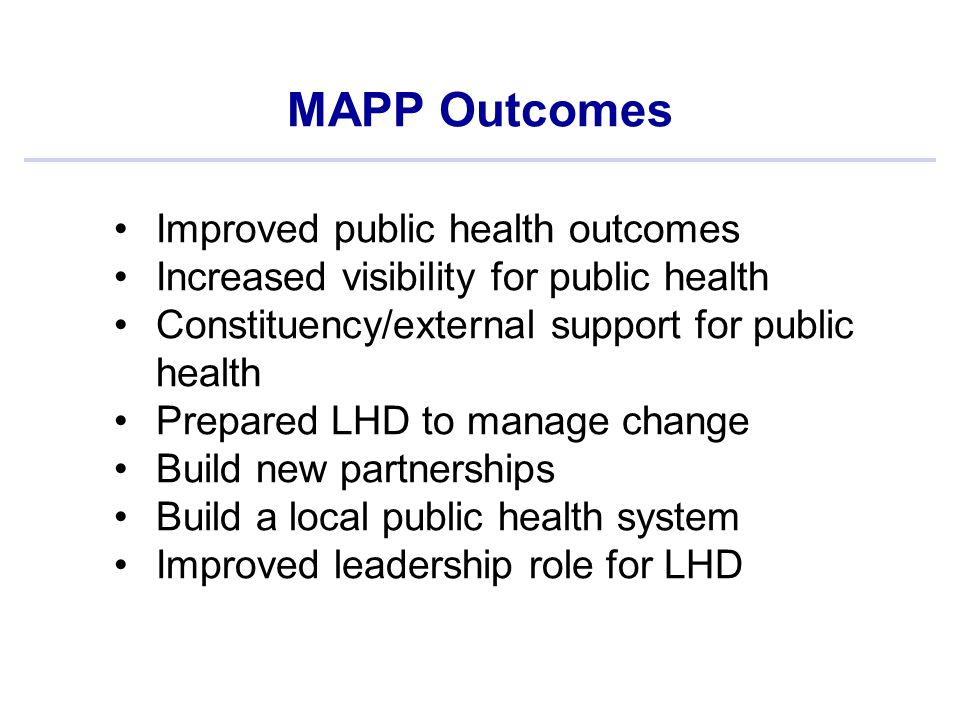 MAPP Outcomes Improved public health outcomes Increased visibility for public health Constituency/external support for public health Prepared LHD to manage change Build new partnerships Build a local public health system Improved leadership role for LHD