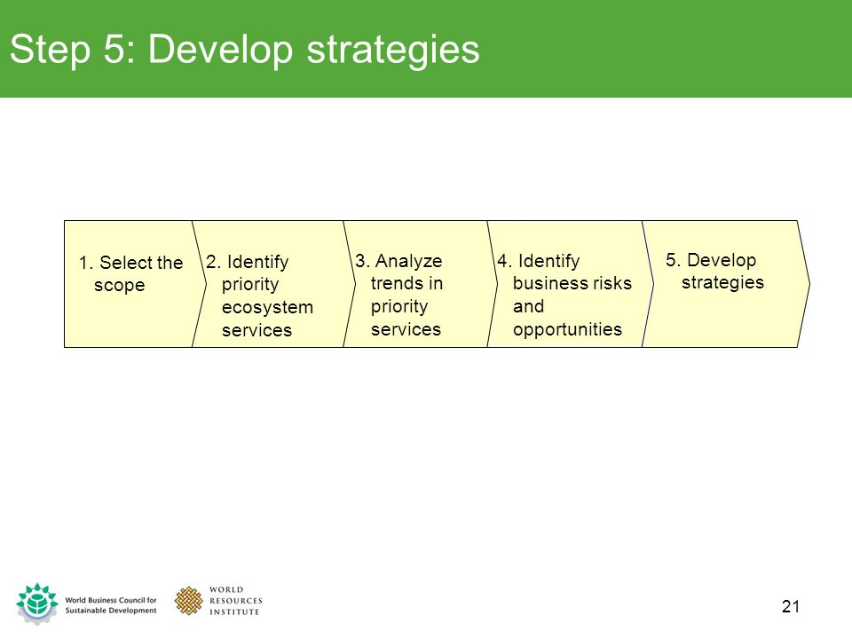 Step 5: Develop strategies 5. Develop strategies 4. Identify business risks and opportunities 3. Analyze trends in priority services 2. Identify prior