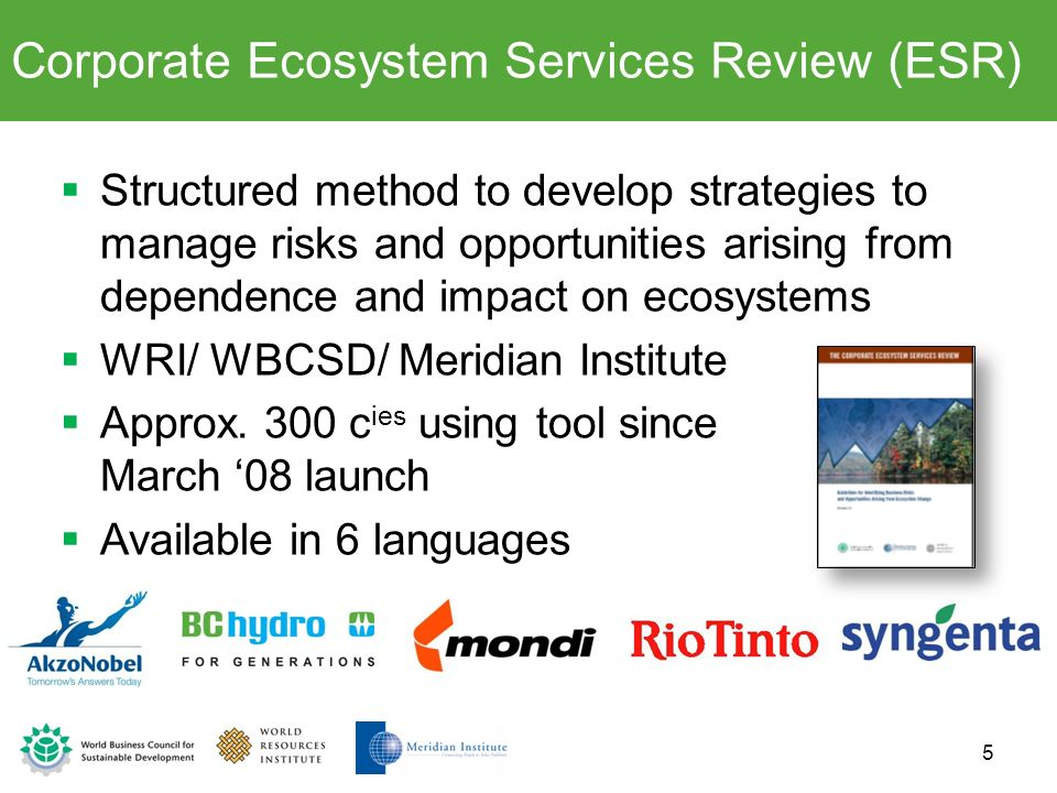 Structured method to develop strategies to manage risks and opportunities arising from dependence and impact on ecosystems WRI/ WBCSD/ Meridian Instit