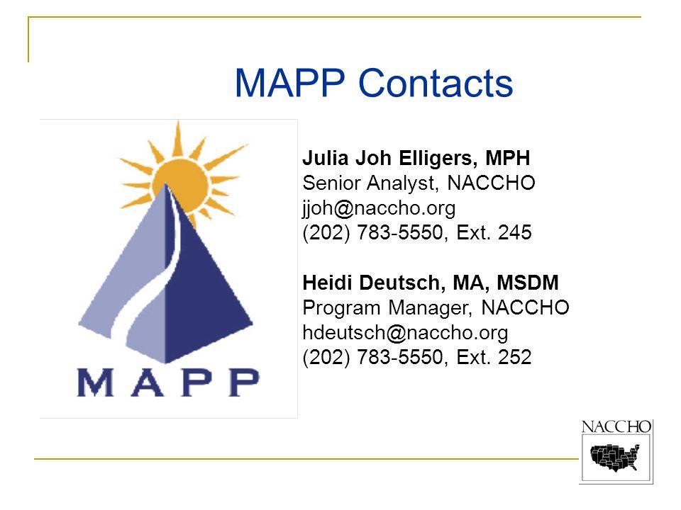 MAPP Contacts Julia Joh Elligers, MPH Senior Analyst, NACCHO jjoh@naccho.org (202) 783-5550, Ext. 245 Heidi Deutsch, MA, MSDM Program Manager, NACCHO
