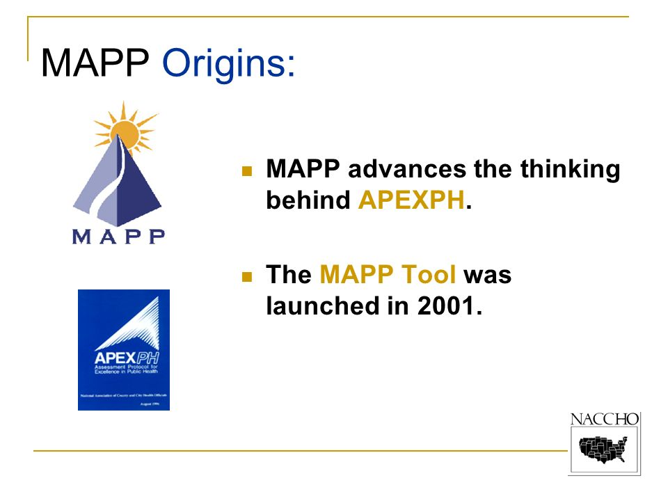 MAPP advances the thinking behind APEXPH. The MAPP Tool was launched in 2001. MAPP Origins: