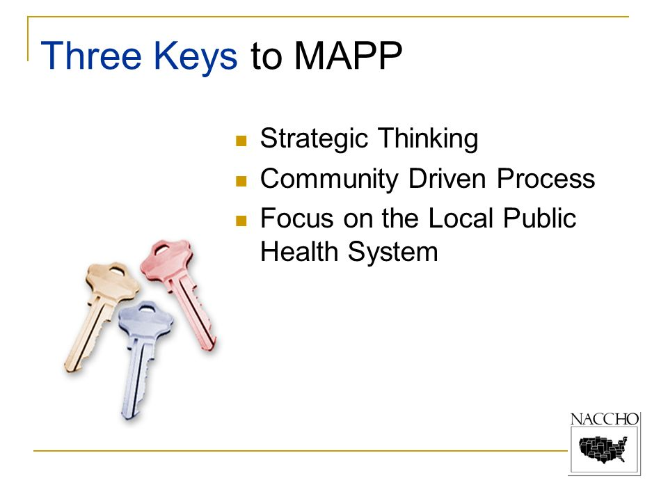 Strategic Thinking Community Driven Process Focus on the Local Public Health System Three Keys to MAPP