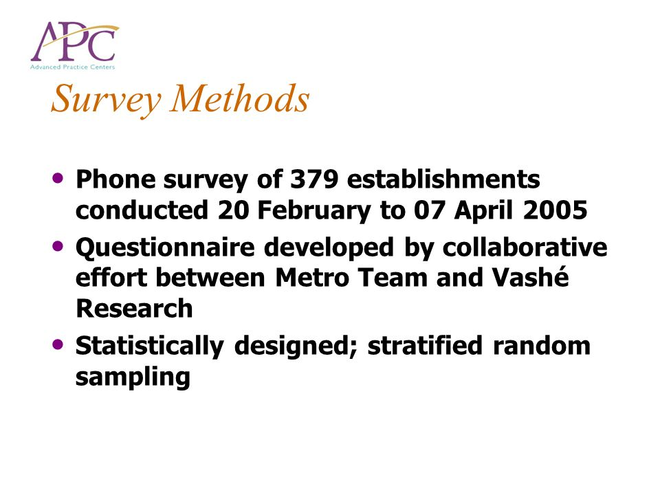 Survey Methods Phone survey of 379 establishments conducted 20 February to 07 April 2005 Questionnaire developed by collaborative effort between Metro
