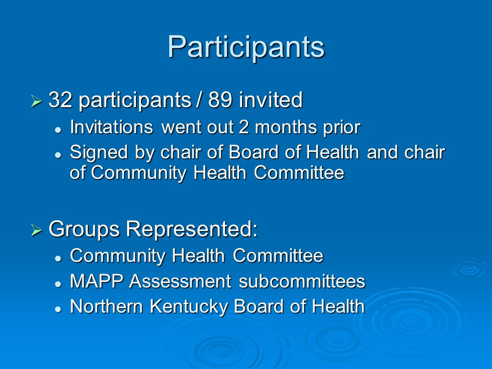 Participants 32 participants / 89 invited 32 participants / 89 invited Invitations went out 2 months prior Invitations went out 2 months prior Signed by chair of Board of Health and chair of Community Health Committee Signed by chair of Board of Health and chair of Community Health Committee Groups Represented: Groups Represented: Community Health Committee Community Health Committee MAPP Assessment subcommittees MAPP Assessment subcommittees Northern Kentucky Board of Health Northern Kentucky Board of Health
