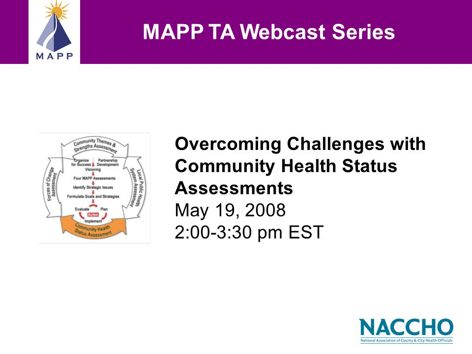 Overcoming Challenges with Community Health Status Assessments May 19, :00-3:30 pm EST MAPP TA Webcast Series