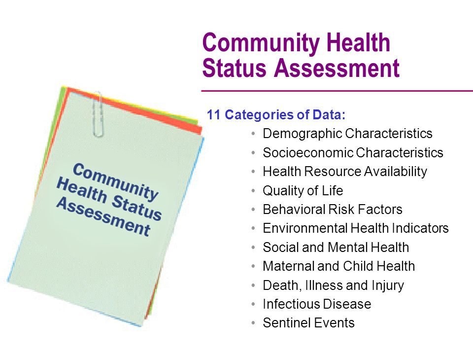 Community Health Status Assessment 11 Categories of Data: Demographic Characteristics Socioeconomic Characteristics Health Resource Availability Quality of Life Behavioral Risk Factors Environmental Health Indicators Social and Mental Health Maternal and Child Health Death, Illness and Injury Infectious Disease Sentinel Events