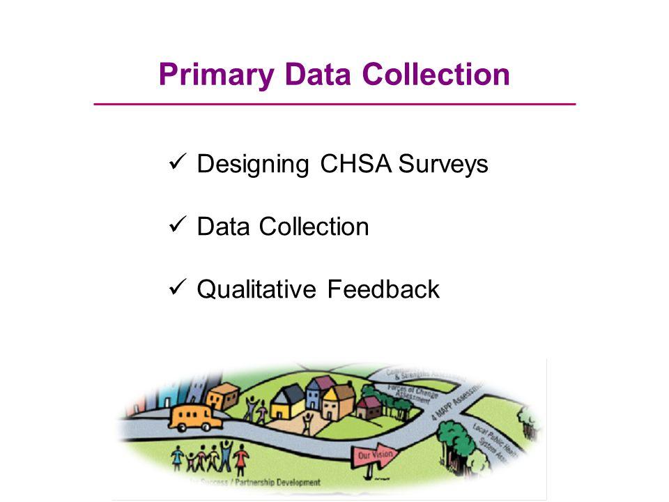 Primary Data Collection Designing CHSA Surveys Data Collection Qualitative Feedback