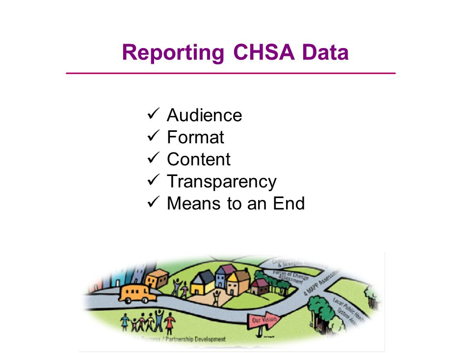Reporting CHSA Data Audience Format Content Transparency Means to an End