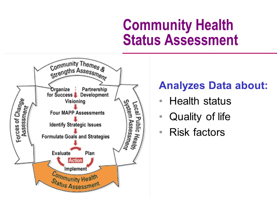 Analyzes Data about: Health status Quality of life Risk factors Community Health Status Assessment