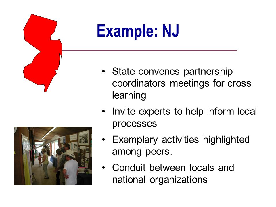 Example: NJ State convenes partnership coordinators meetings for cross learning Invite experts to help inform local processes Exemplary activities highlighted among peers.