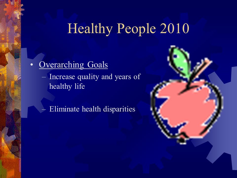 Healthy People 2010 Overarching Goals –Increase quality and years of healthy life –Eliminate health disparities