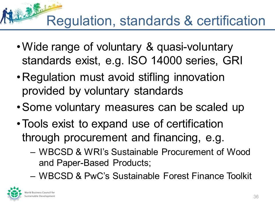 Wide range of voluntary & quasi-voluntary standards exist, e.g.
