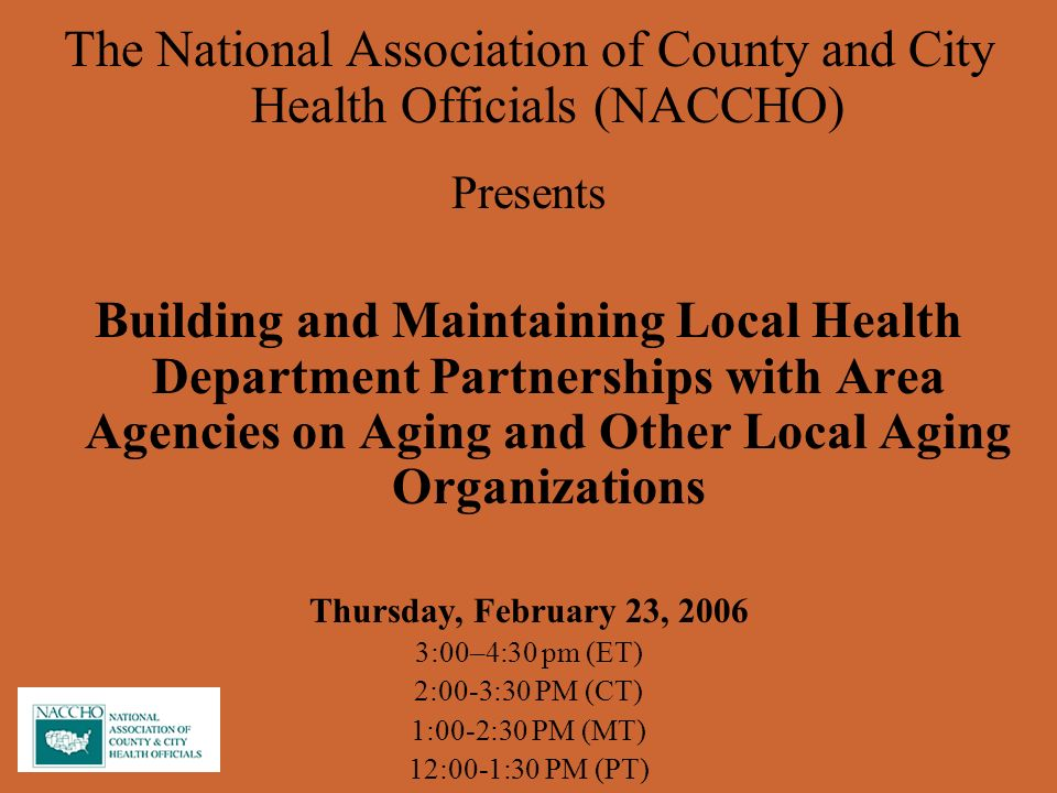 CDCs Aging Program Within CDCs Chronic Disease Center Focal point for aging work at CDC Outreach to aging network Collaboration with national organizations, e.g., n4a, NCOA, ASA Research on prevention measures CDC aging website: www.cdc.gov/aging