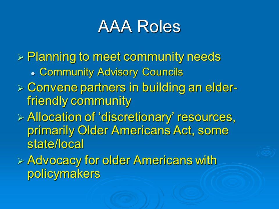 AAA Roles Planning to meet community needs Planning to meet community needs Community Advisory Councils Community Advisory Councils Convene partners i
