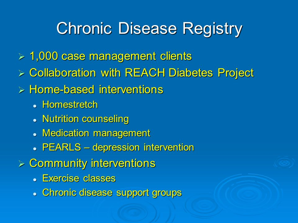 Chronic Disease Registry 1,000 case management clients 1,000 case management clients Collaboration with REACH Diabetes Project Collaboration with REAC