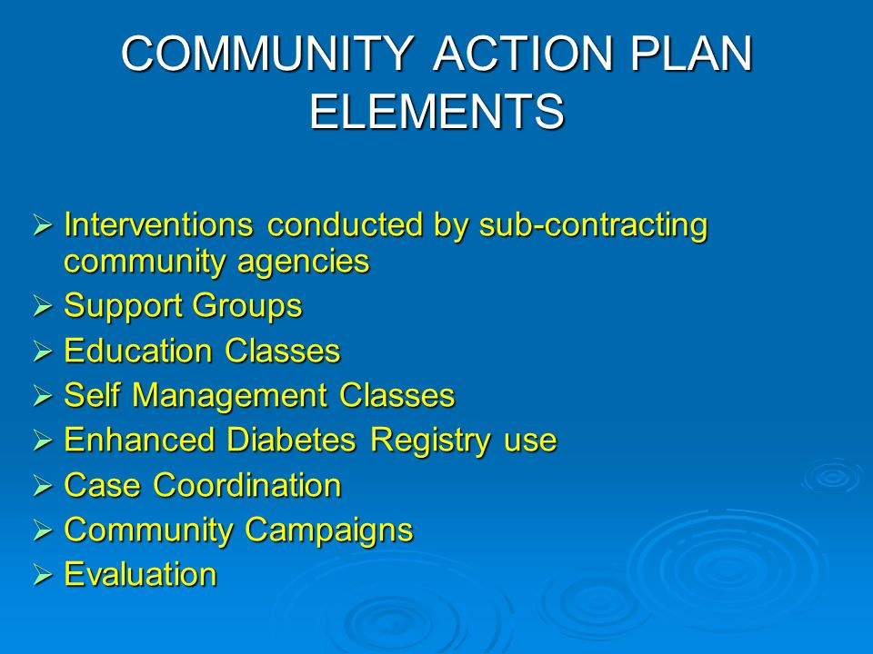 COMMUNITY ACTION PLAN ELEMENTS Interventions conducted by sub-contracting community agencies Interventions conducted by sub-contracting community agencies Support Groups Support Groups Education Classes Education Classes Self Management Classes Self Management Classes Enhanced Diabetes Registry use Enhanced Diabetes Registry use Case Coordination Case Coordination Community Campaigns Community Campaigns Evaluation Evaluation