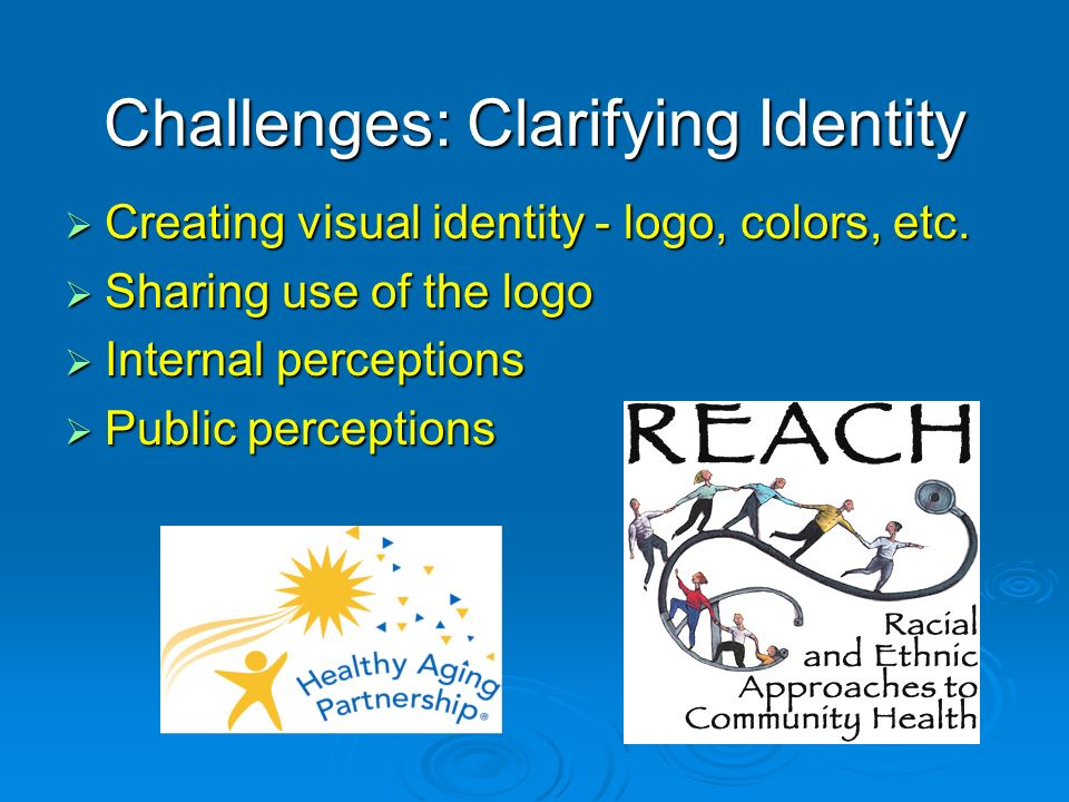 Challenges: Clarifying Identity Creating visual identity - logo, colors, etc.