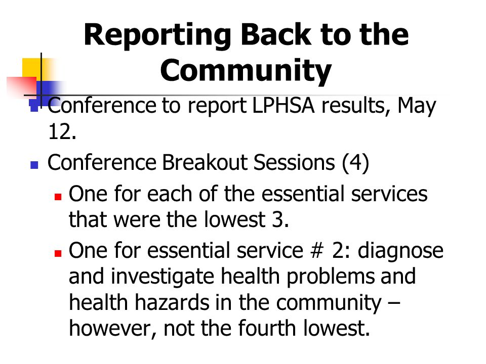 Reporting Back to the Community Conference to report LPHSA results, May 12.