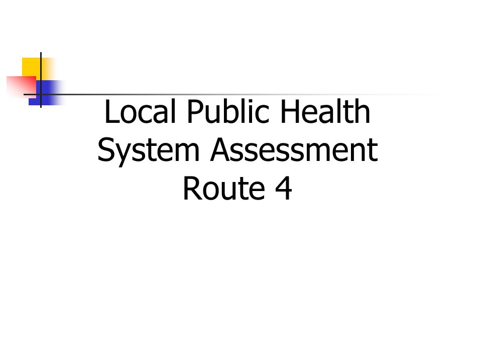 Local Public Health System Assessment Route 4