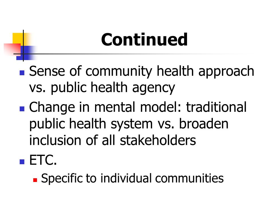 Continued Sense of community health approach vs.
