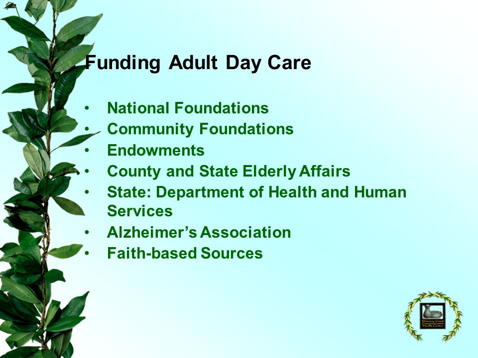 Funding Adult Day Care National Foundations Community Foundations Endowments County and State Elderly Affairs State: Department of Health and Human Services Alzheimers Association Faith-based Sources