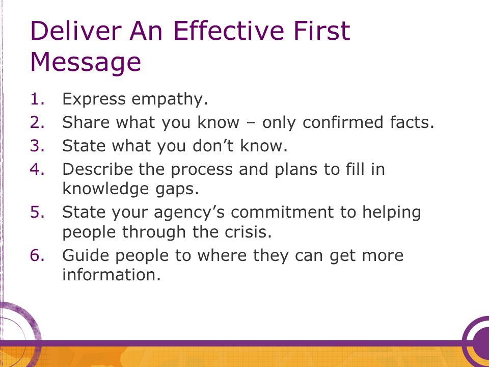 Deliver An Effective First Message 1.Express empathy.