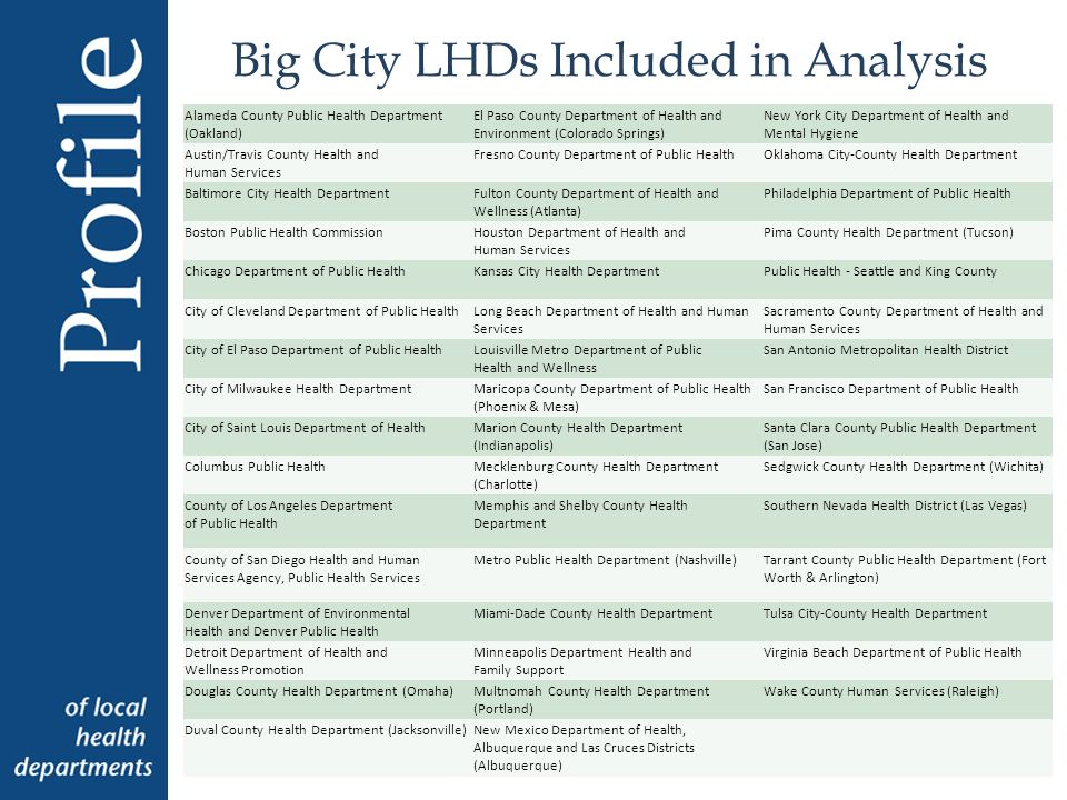 Big City LHDs Included in Analysis Alameda County Public Health Department (Oakland) El Paso County Department of Health and Environment (Colorado Springs) New York City Department of Health and Mental Hygiene Austin/Travis County Health and Human Services Fresno County Department of Public HealthOklahoma City-County Health Department Baltimore City Health DepartmentFulton County Department of Health and Wellness (Atlanta) Philadelphia Department of Public Health Boston Public Health CommissionHouston Department of Health and Human Services Pima County Health Department (Tucson) Chicago Department of Public HealthKansas City Health DepartmentPublic Health - Seattle and King County City of Cleveland Department of Public HealthLong Beach Department of Health and Human Services Sacramento County Department of Health and Human Services City of El Paso Department of Public HealthLouisville Metro Department of Public Health and Wellness San Antonio Metropolitan Health District City of Milwaukee Health DepartmentMaricopa County Department of Public Health (Phoenix & Mesa) San Francisco Department of Public Health City of Saint Louis Department of HealthMarion County Health Department (Indianapolis) Santa Clara County Public Health Department (San Jose) Columbus Public HealthMecklenburg County Health Department (Charlotte) Sedgwick County Health Department (Wichita) County of Los Angeles Department of Public Health Memphis and Shelby County Health Department Southern Nevada Health District (Las Vegas) County of San Diego Health and Human Services Agency, Public Health Services Metro Public Health Department (Nashville)Tarrant County Public Health Department (Fort Worth & Arlington) Denver Department of Environmental Health and Denver Public Health Miami-Dade County Health DepartmentTulsa City-County Health Department Detroit Department of Health and Wellness Promotion Minneapolis Department Health and Family Support Virginia Beach Department of Public Health Douglas County Health Department (Omaha)Multnomah County Health Department (Portland) Wake County Human Services (Raleigh) Duval County Health Department (Jacksonville)New Mexico Department of Health, Albuquerque and Las Cruces Districts (Albuquerque)