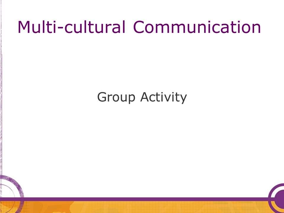 Multi-cultural Communication Group Activity