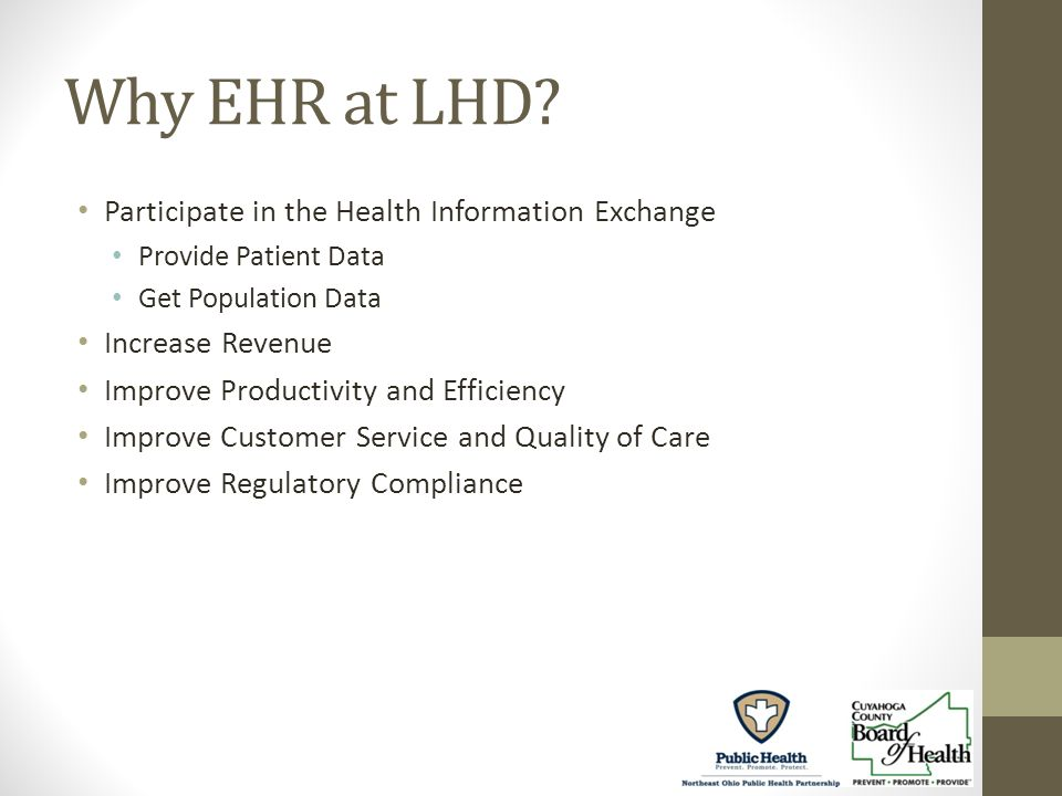 Why EHR at LHD.