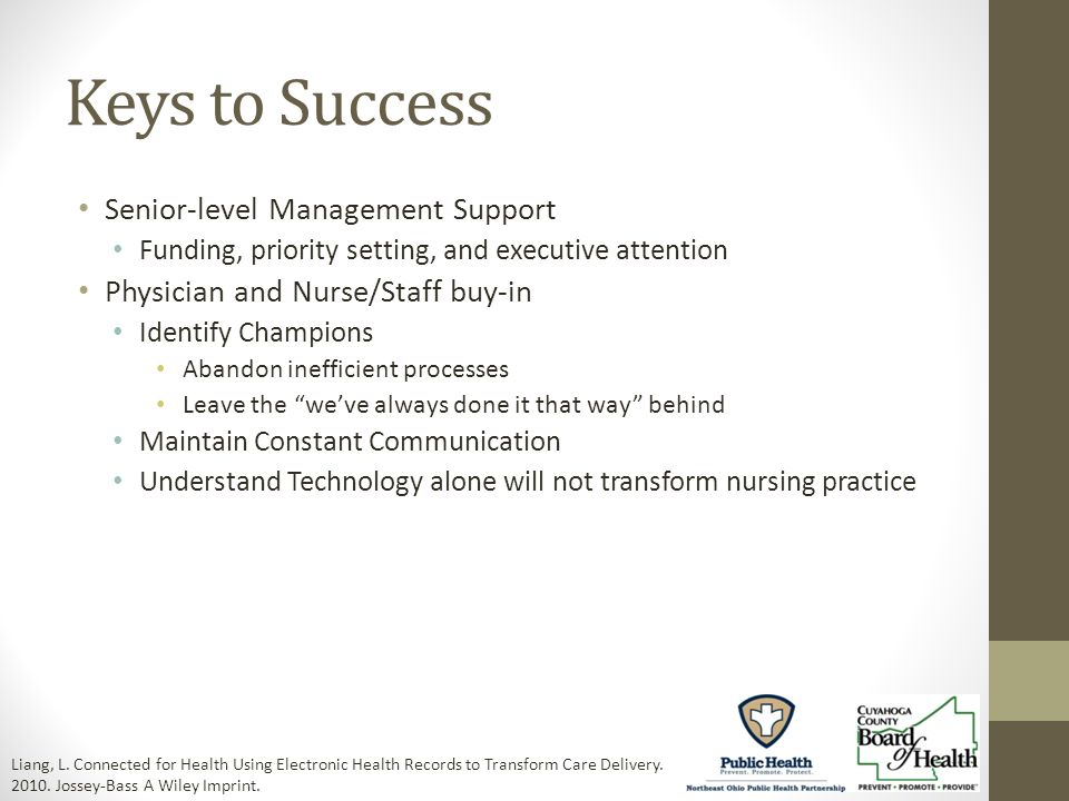 Keys to Success Senior-level Management Support Funding, priority setting, and executive attention Physician and Nurse/Staff buy-in Identify Champions Abandon inefficient processes Leave the weve always done it that way behind Maintain Constant Communication Understand Technology alone will not transform nursing practice Liang, L.
