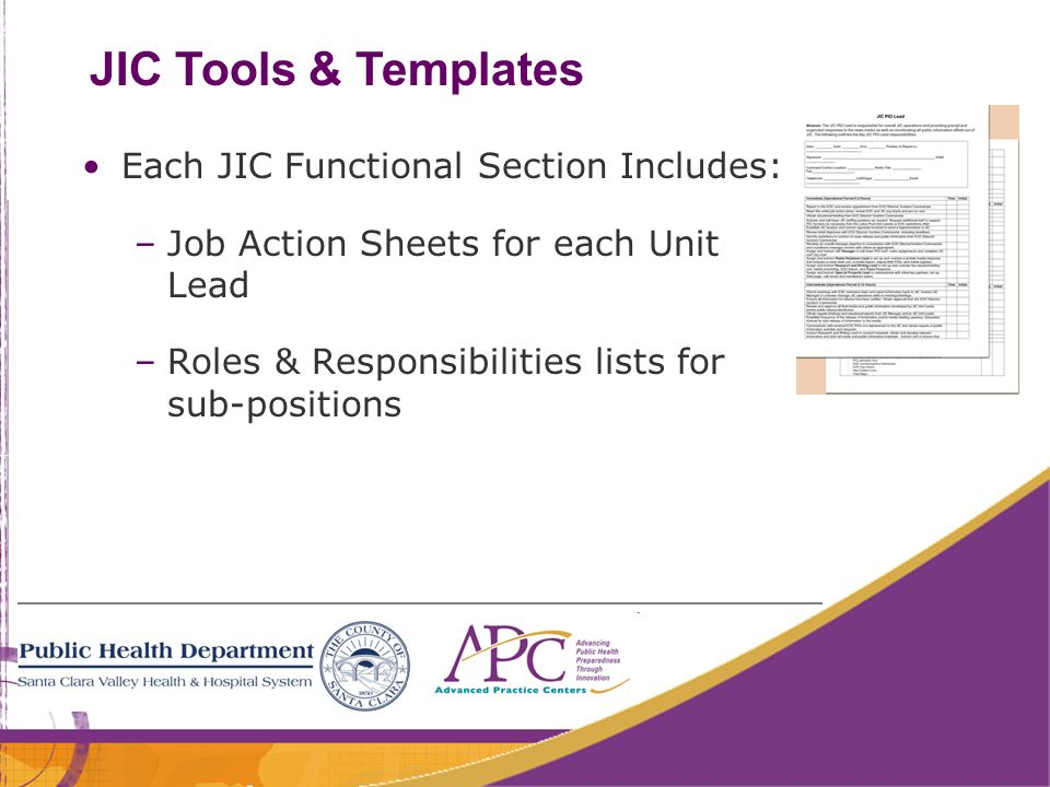 47 JIC Tools & Templates Each JIC Functional Section Includes: –Job Action Sheets for each Unit Lead –Roles & Responsibilities lists for sub-positions