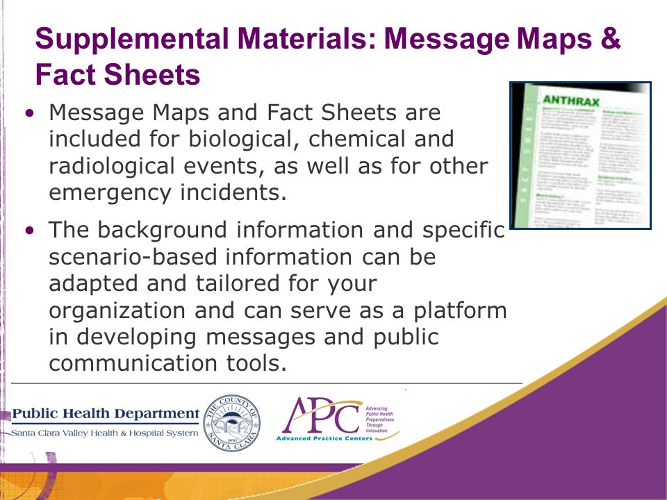 50 Supplemental Materials: Message Maps & Fact Sheets Message Maps and Fact Sheets are included for biological, chemical and radiological events, as w