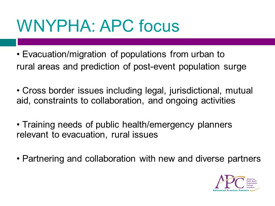 WNYPHA: APC focus Evacuation/migration of populations from urban to rural areas and prediction of post-event population surge Cross border issues including legal, jurisdictional, mutual aid, constraints to collaboration, and ongoing activities Training needs of public health/emergency planners relevant to evacuation, rural issues Partnering and collaboration with new and diverse partners