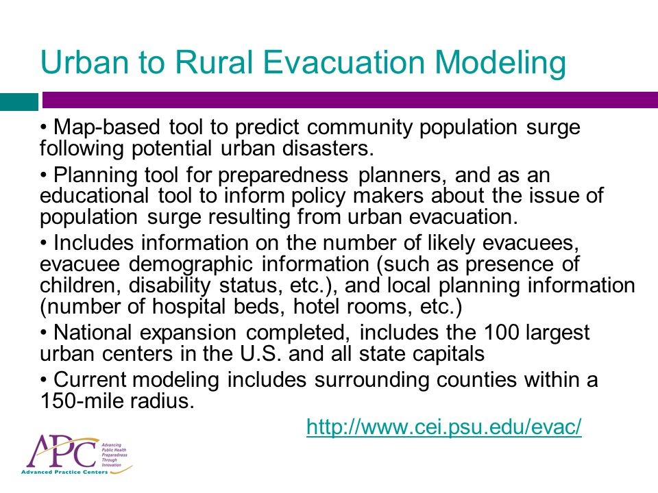 Urban to Rural Evacuation Modeling Scenario Specific Variables: Based on the nature of the precipitating event – how much push does it have, and how many urban citizens are likely to evacuate as a result.