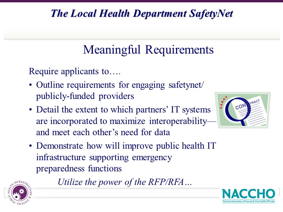 The Local Health Department SafetyNet Meaningful Requirements Require applicants to….