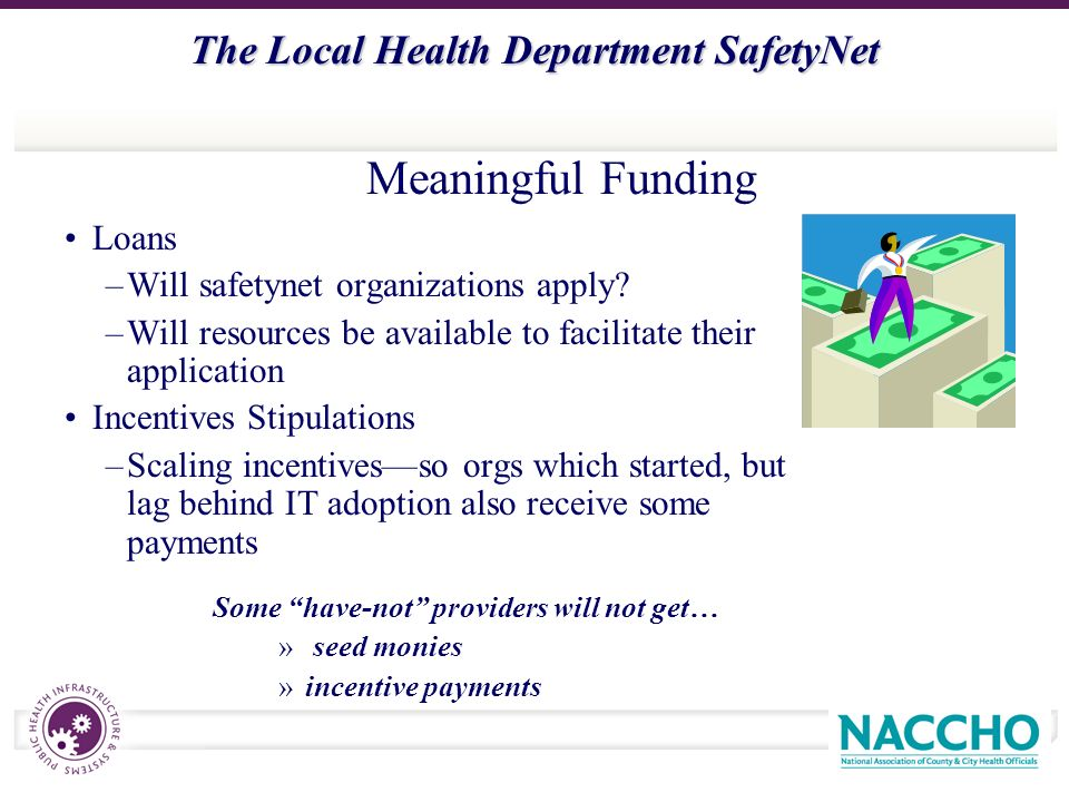 The Local Health Department SafetyNet Loans –Will safetynet organizations apply.
