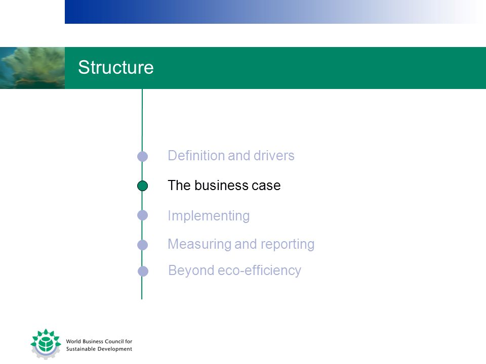 The business case Implementing Measuring and reporting Definition and drivers Beyond eco-efficiency The business case Structure