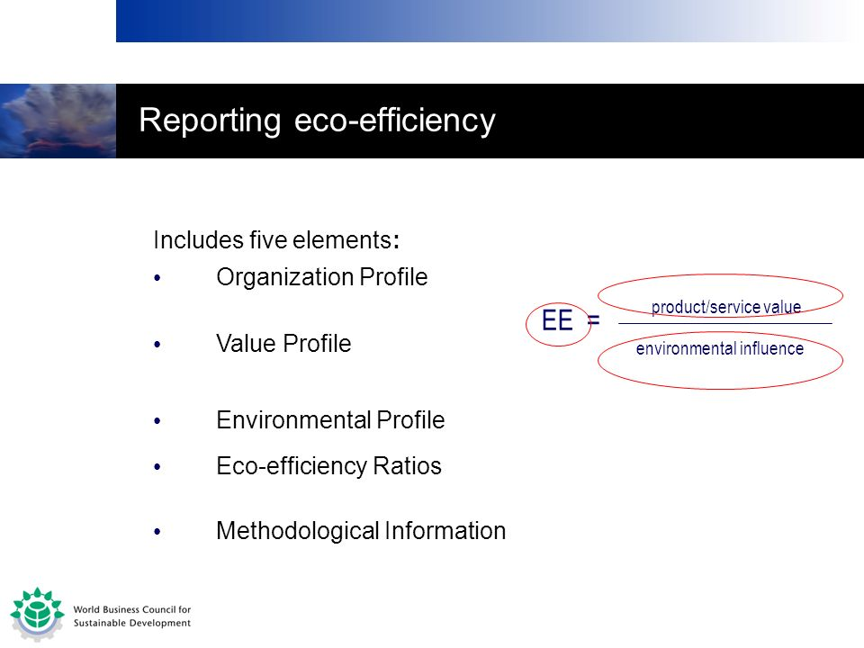 Includes five elements: Organization Profile EE = product/service value Value Profile Environmental Profile Eco-efficiency Ratios Methodological Infor