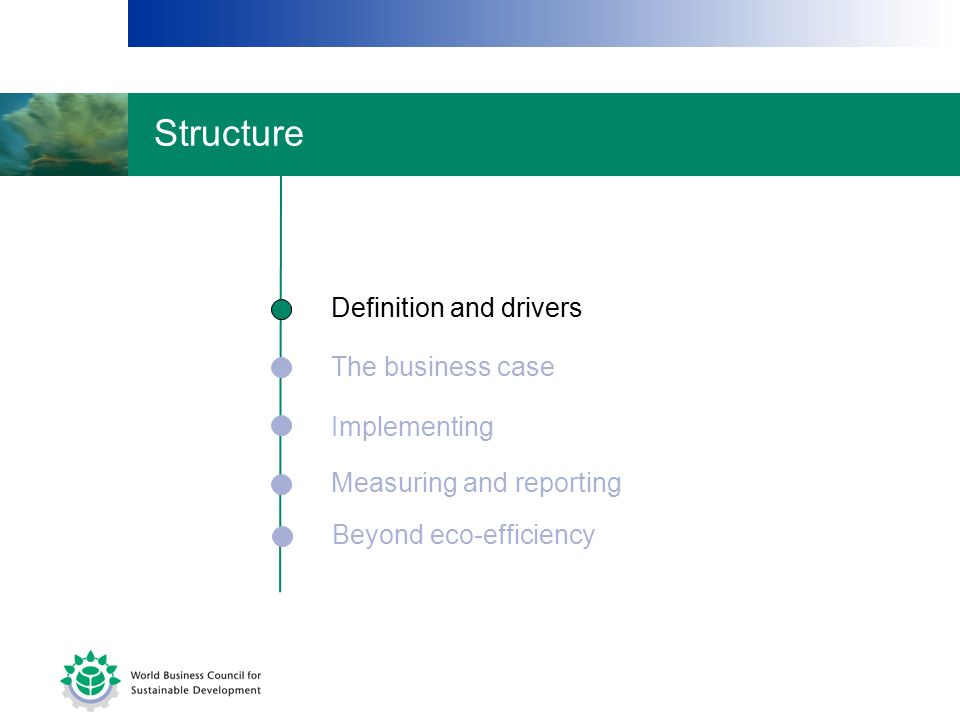 The business case Implementing Measuring and reporting Definition and drivers Beyond eco-efficiency Definition and drivers Structure