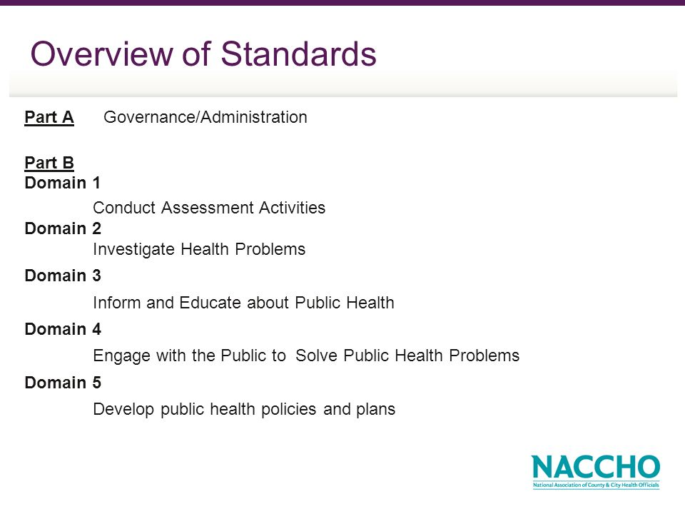 Overview of Standards Part A Governance/Administration Part B Domain 1 Conduct Assessment Activities Domain 2 Investigate Health Problems Domain 3 Inform and Educate about Public Health Domain 4 Engage with the Public to Solve Public Health Problems Domain 5 Develop public health policies and plans