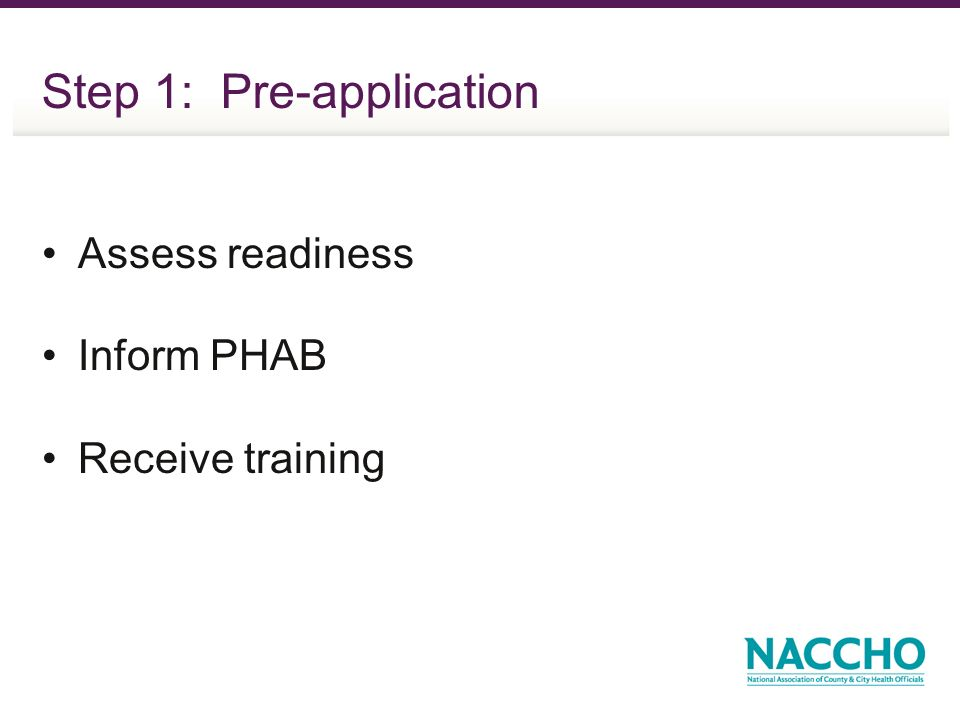 Step 1: Pre-application Assess readiness Inform PHAB Receive training