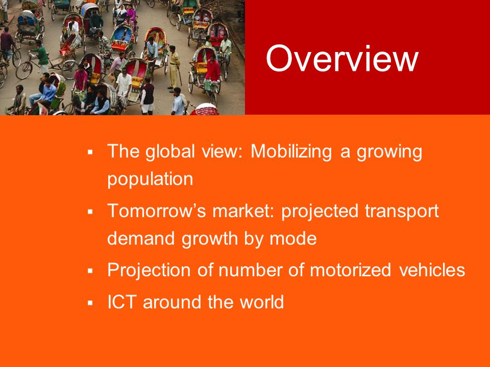 3 Transport has been critical to unlocking resources and promoting economic development Basic premise: Passenger transport demand is determined by population and income 1 Data source for pie charts: UN 2001.