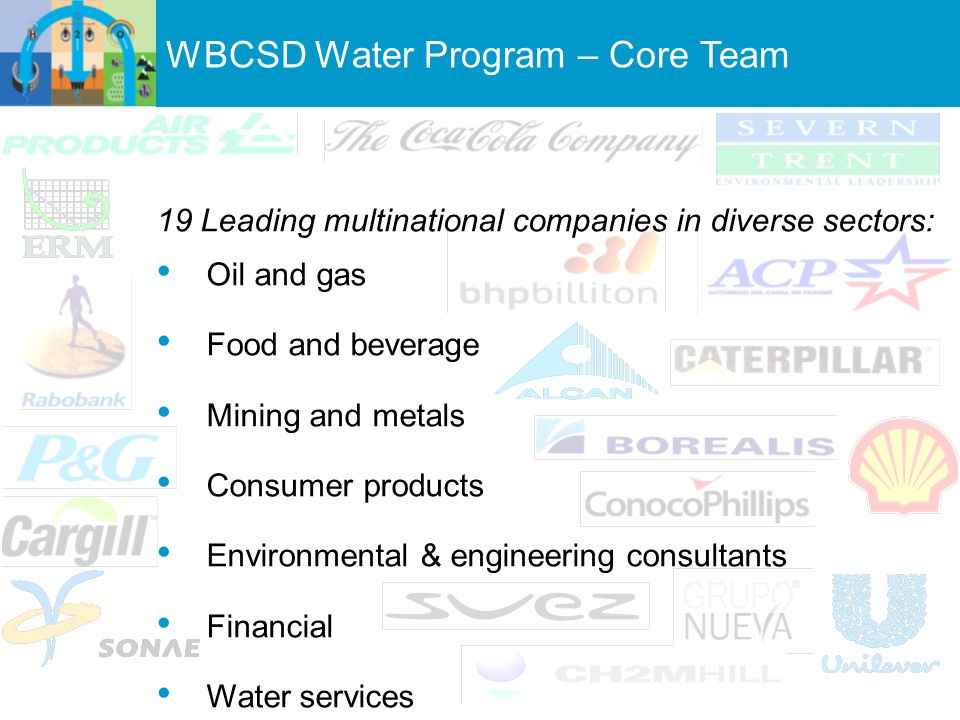 19 Leading multinational companies in diverse sectors: Oil and gas Food and beverage Mining and metals Consumer products Environmental & engineering consultants Financial Water services WBCSD Water Program – Core Team