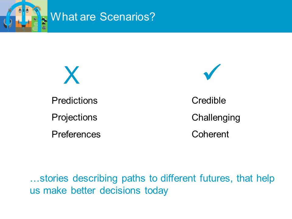 X Predictions Projections Preferences Credible Challenging Coherent …stories describing paths to different futures, that help us make better decisions today What are Scenarios