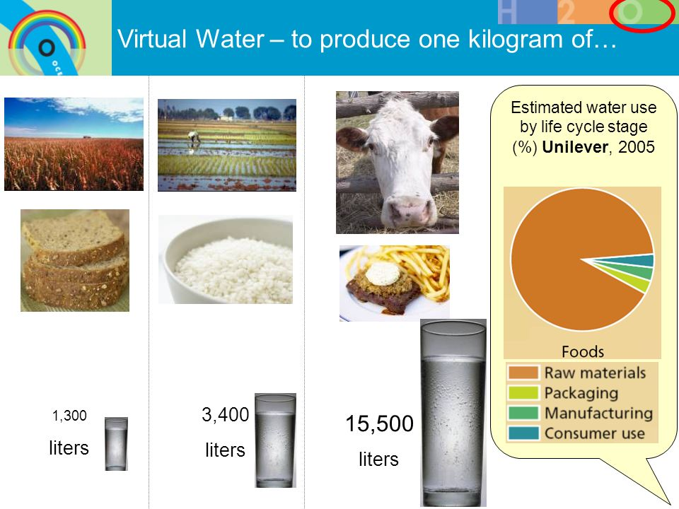 Estimated water use by life cycle stage (%) Unilever, 2005 Virtual Water – to produce one kilogram of… 1,300 liters 3,400 liters 15,500 liters