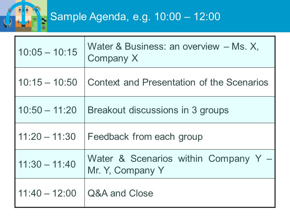 Sample Agenda, e.g. 10:00 – 12:00 10:05 – 10:15 Water & Business: an overview – Ms. X, Company X 10:15 – 10:50Context and Presentation of the Scenario