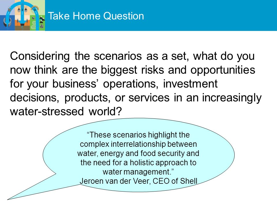 Take Home Question Considering the scenarios as a set, what do you now think are the biggest risks and opportunities for your business operations, investment decisions, products, or services in an increasingly water-stressed world.