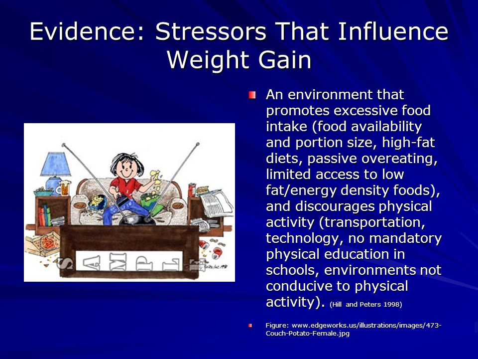 Evidence: Stressors That Influence Weight Gain An environment that promotes excessive food intake (food availability and portion size, high-fat diets, passive overeating, limited access to low fat/energy density foods), and discourages physical activity (transportation, technology, no mandatory physical education in schools, environments not conducive to physical activity).