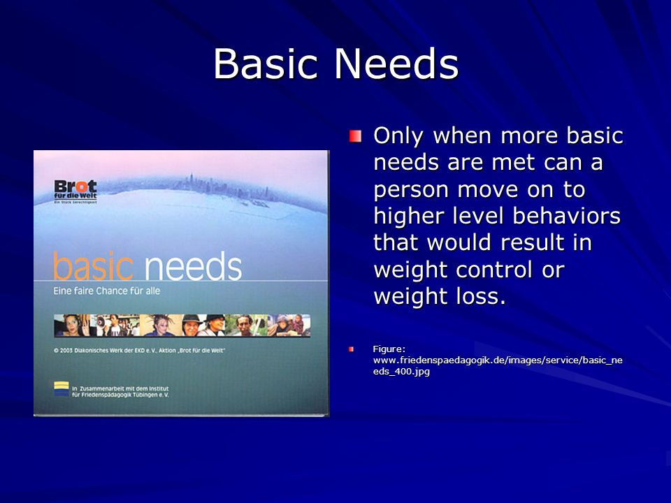 Basic Needs Only when more basic needs are met can a person move on to higher level behaviors that would result in weight control or weight loss.